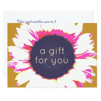 Cartão Certificado de presente floral do girassol