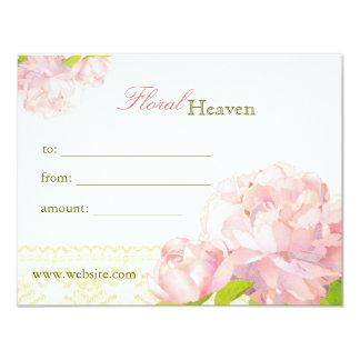 Cartão Certificado de presente floral do negócio da
