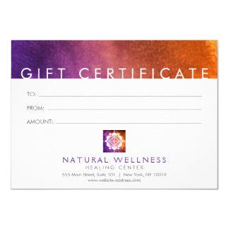 Cartão Certificado de presente roxo do logotipo floral do