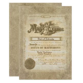 Cartão Certificado do casamento vintage
