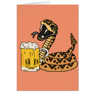 Cartão Cerveja engraçada do bebendo do cascavel