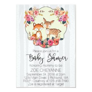 Cartão Cervos do bebê do berçário da floresta e chá de