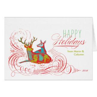 Cartão Cervos do feriado do pop art dobrados