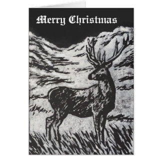 Cartão Cervos escoceses em Linocut preto & branco nevado