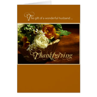 Cartão Cesta da flor da acção de graças do marido