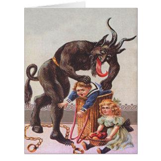 Cartão Cesta das crianças do rapto de Krampus
