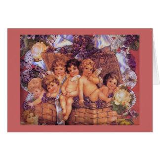 Cartão Cesta de namorados dos querubins
