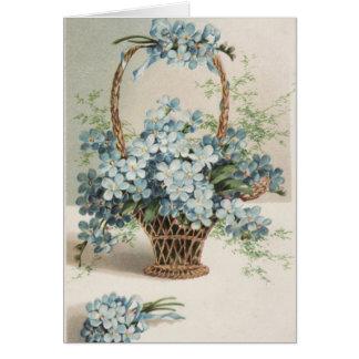 Cartão Cesta do dia das mães dos miosótis