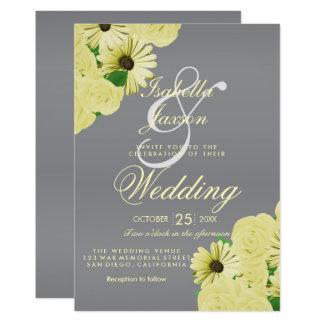 Cartão Cetim cinzento do casamento e casamento amarelo