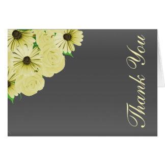 Cartão Cetim cinzento do casamento e floral amarelo