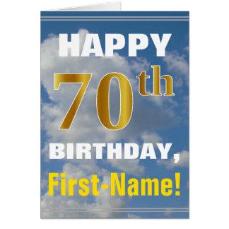 Cartão Céu corajoso, nebuloso, aniversário do 70 do ouro