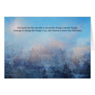 Cartão Céu da oração da serenidade e abstrato das árvores