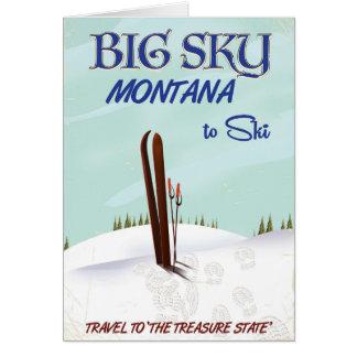 Cartão Céu grande, poster de viagens do esqui de Montana