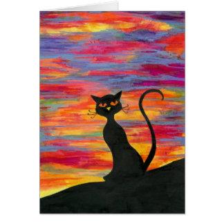 Cartão Céu vermelho na noite, o prazer do gato