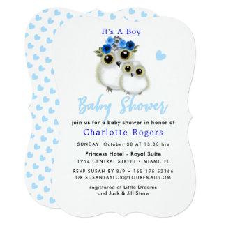 Cartão Chá azul do bebé do coração da coruja macia