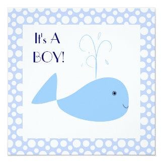Cartão Chá bonito do bebé das bolinhas da baleia azul