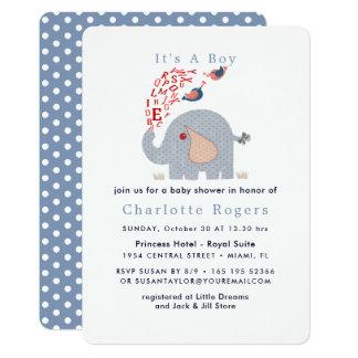 Cartão Chá bonito do bebé do elefante do alfabeto do