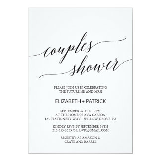 Cartão Chá branco e preto elegante dos casais da