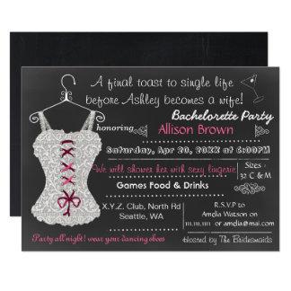 Cartão Chá cor-de-rosa Bachelorette da lingerie do laço