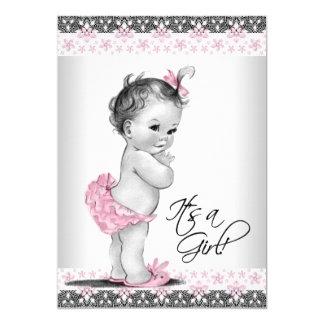 Cartão Chá cor-de-rosa e cinzento do vintage do bebé