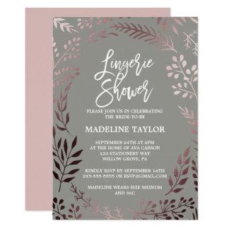 Cartão Chá cor-de-rosa elegante da lingerie do ouro e das