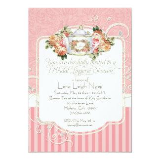 Cartão Chá da lingerie do buquê floral do rosa da