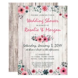 Cartão Chá de casamento cor-de-rosa floral de madeira