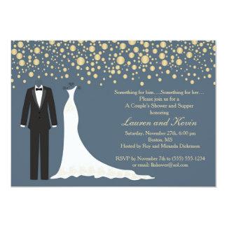Cartão Chá de casamento dourado dos confetes, do smoking