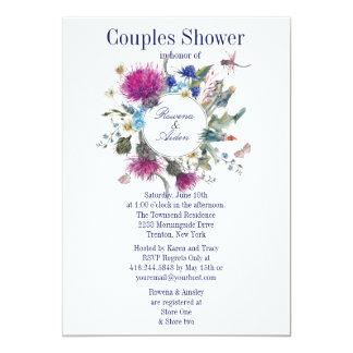 Cartão Chá de casamento floral 3 dos casais do cardo