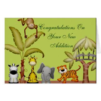 Cartão Chá de fraldas animal da celebração do safari da