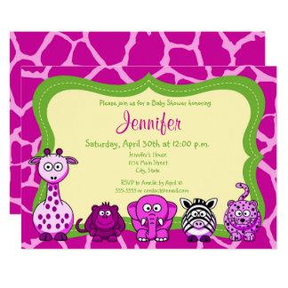 Cartão Chá de fraldas animal da menina da selva do safari