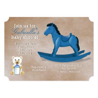 Cartão Chá de fraldas azul do cavalo de balanço