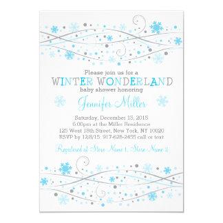 Cartão Chá de fraldas azul do floco de neve do inverno