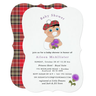 Cartão Chá de fraldas bonito da flor escocesa do Tartan