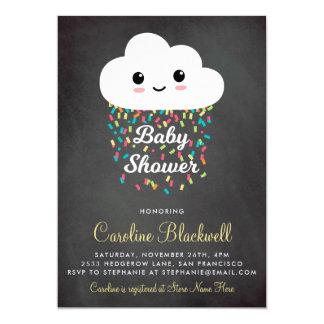 Cartão Chá de fraldas bonito da nuvem & do quadro dos