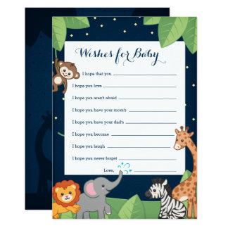 Cartão Chá de fraldas bonito do bebê dos animais do