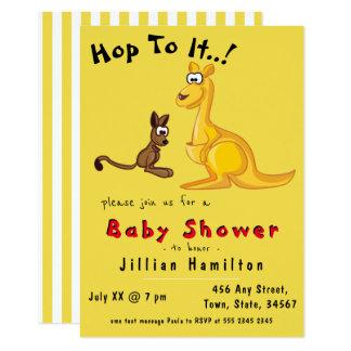 Cartão Chá de fraldas bonito do bebê e da mamã do canguru