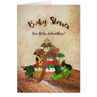 Cartão Chá de fraldas bonito do bolo da fralda da selva