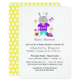 Cartão Chá de fraldas bonito do coelho de coelho do