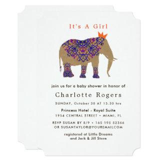 Cartão Chá de fraldas bonito do elefante da cor rústica
