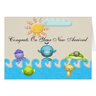 Cartão Chá de fraldas bonito dos animais de mar