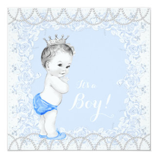 Cartão Chá de fraldas bonito dos azuis bebés da pérola