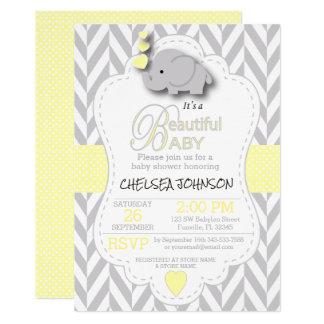 Cartão Chá de fraldas cinzento amarelo, branco do