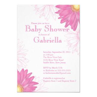 Cartão Chá de fraldas cor-de-rosa & branco moderno da