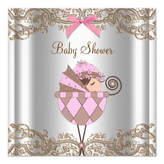 Cartão Chá de fraldas cor-de-rosa da menina do laço de