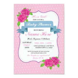 Cartão Chá de fraldas cor-de-rosa floral da menina ou