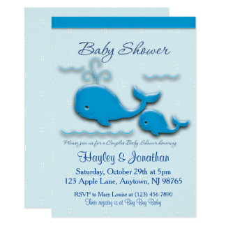 Cartão Chá de fraldas customizável da baleia dos casais