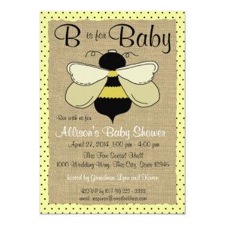 Cartão Chá de fraldas da abelha e da serapilheira