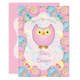 Cartão Chá de fraldas da coruja do rosa Pastel