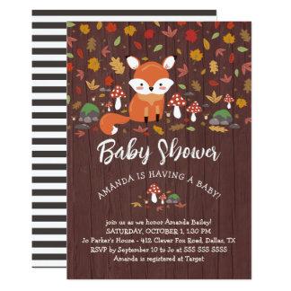 Cartão Chá de fraldas da floresta do Fox do outono